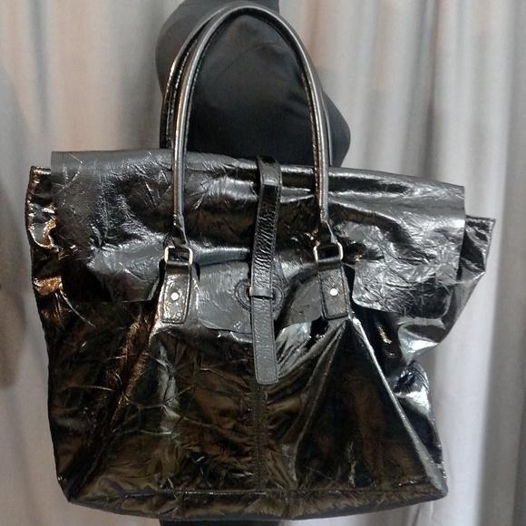 "Leonello Borghi Men""s Patent Leather Weekender"